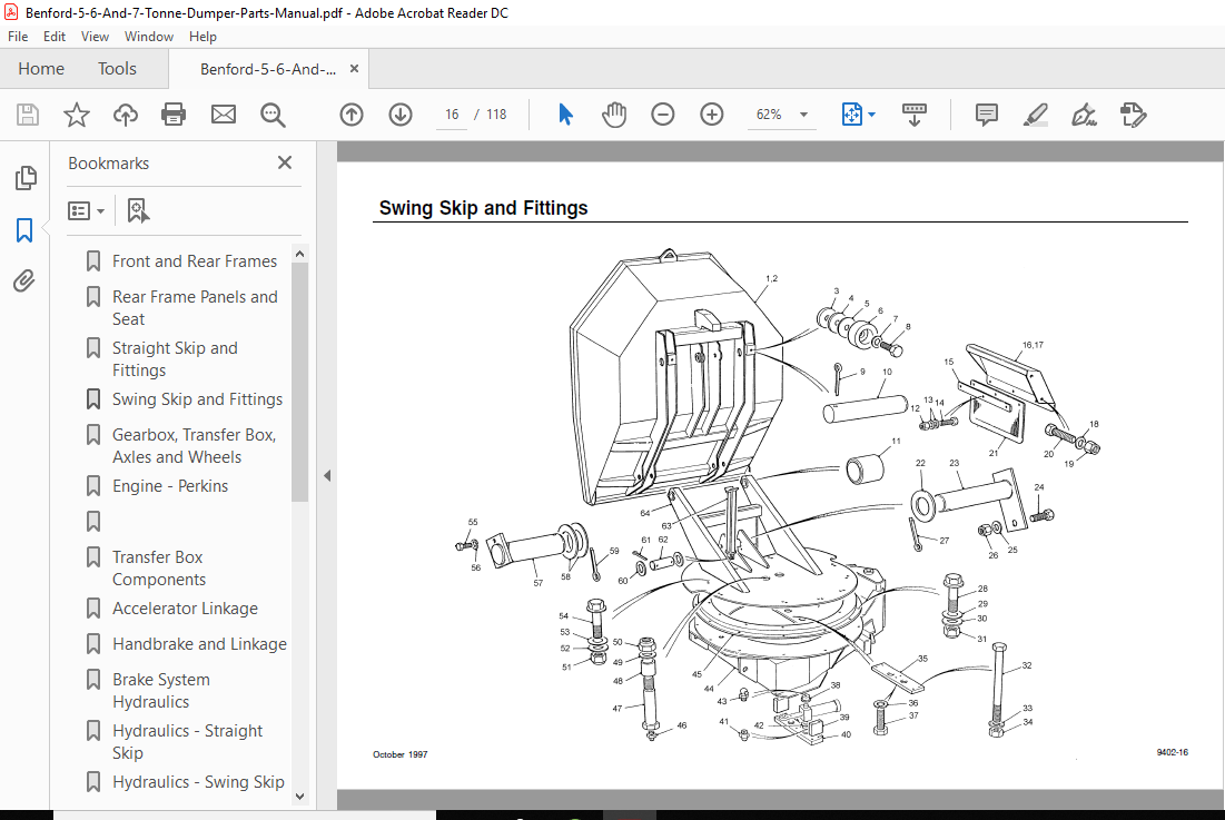 BENFORD 5 6 AND 7 TONNE DUMPER PARTS MANUAL PDF DOWNLOAD