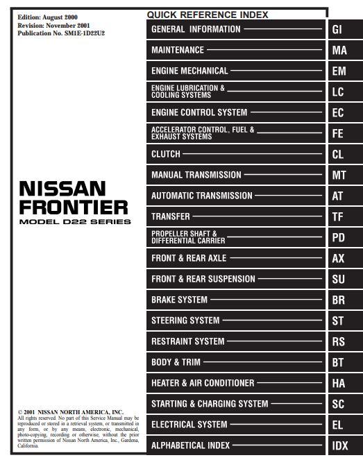 nissan frontier repair manual pdf