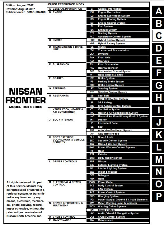 Nissan Frontier Service Manual PDF Download ~