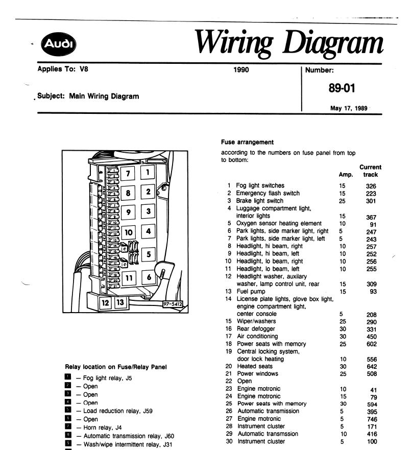 Audi V8 Quattro 1990 Wiring Diagrams