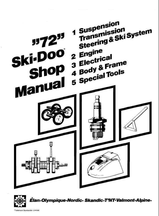 1972 1973 Bombardier Ski Doo Snowmobile Repair Shop Manual