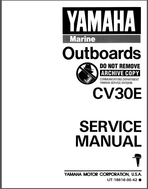 1990 Yamaha Cv30eld Outboard Service Repair Maintenance