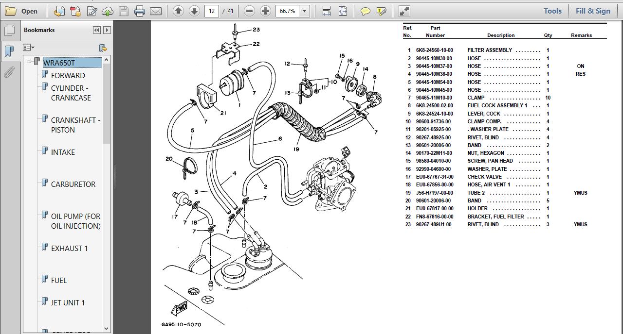 1995 Yamaha Wave Runner Iii Wra650t Parts Manual Catalog