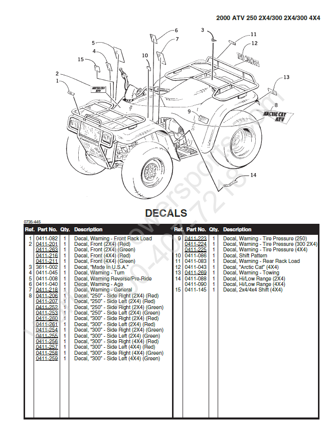 Arctic Cat 300 2x4 4x4 Atv Parts Manual Catalog Download