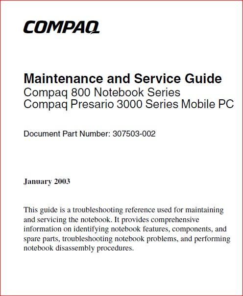 Compaq 900 Presario 3000 Notebook Service Repair Manual