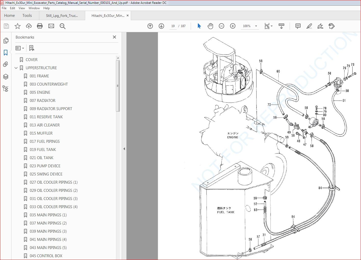 Hitachi Ex30ur Mini Excavator Parts Catalog Manual Serial