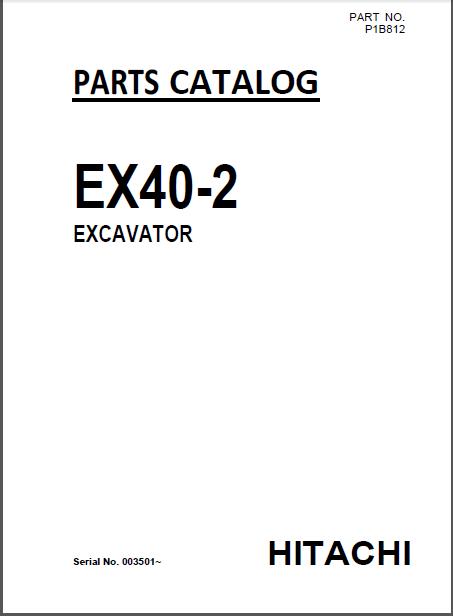 Hitachi Ex40 2 Mini Excavator Parts Catalog Manual Serial