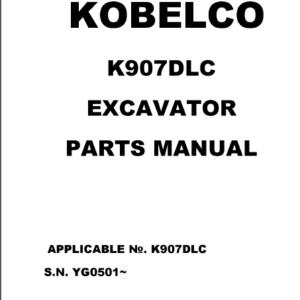 Kobelco K907dlc Excavator Parts Catalog Manual