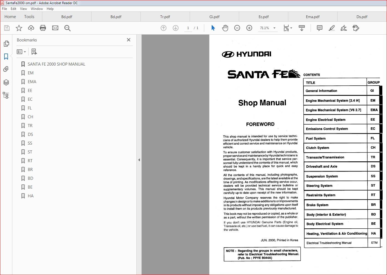 Santa Fe 2000 Service Manual