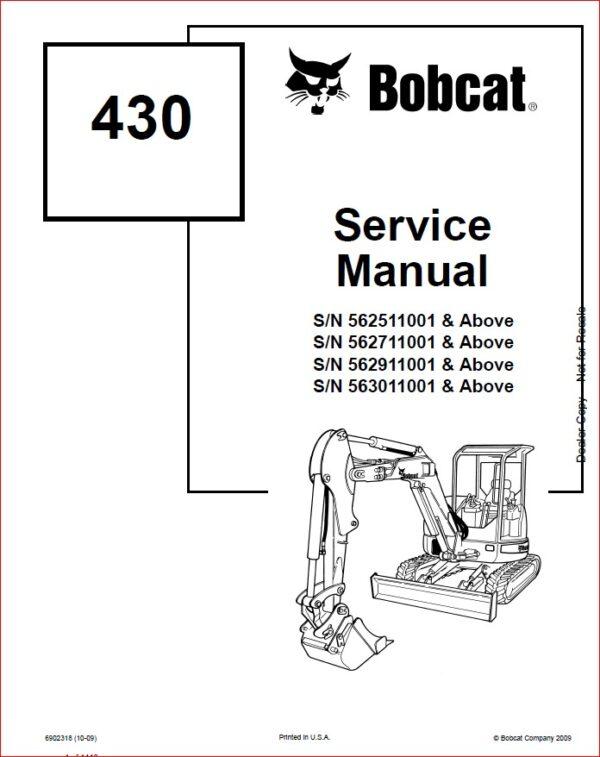 BOBCAT 430 EXCAVATOR SERVICE REPAIR WORKSHOP MANUAL