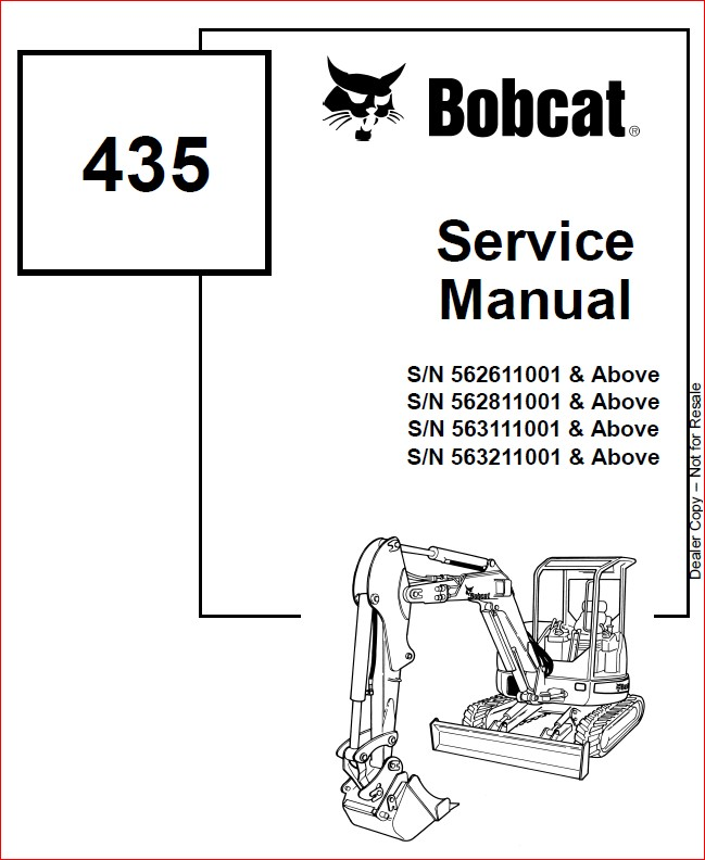 BOBCAT 435 EXCAVATOR SERVICE REPAIR WORKSHOP MANUAL