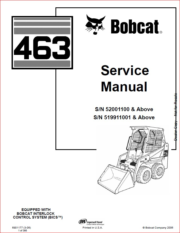 BOBCAT 463 LOADER SERVICE REPAIR WORKSHOP MANUAL DOWNLOAD