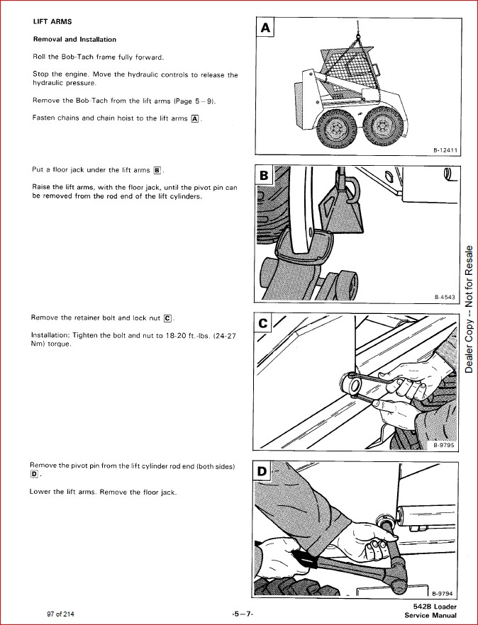 BOBCAT 542B LOADER SERVICE REPAIR WORKSHOP MANUAL