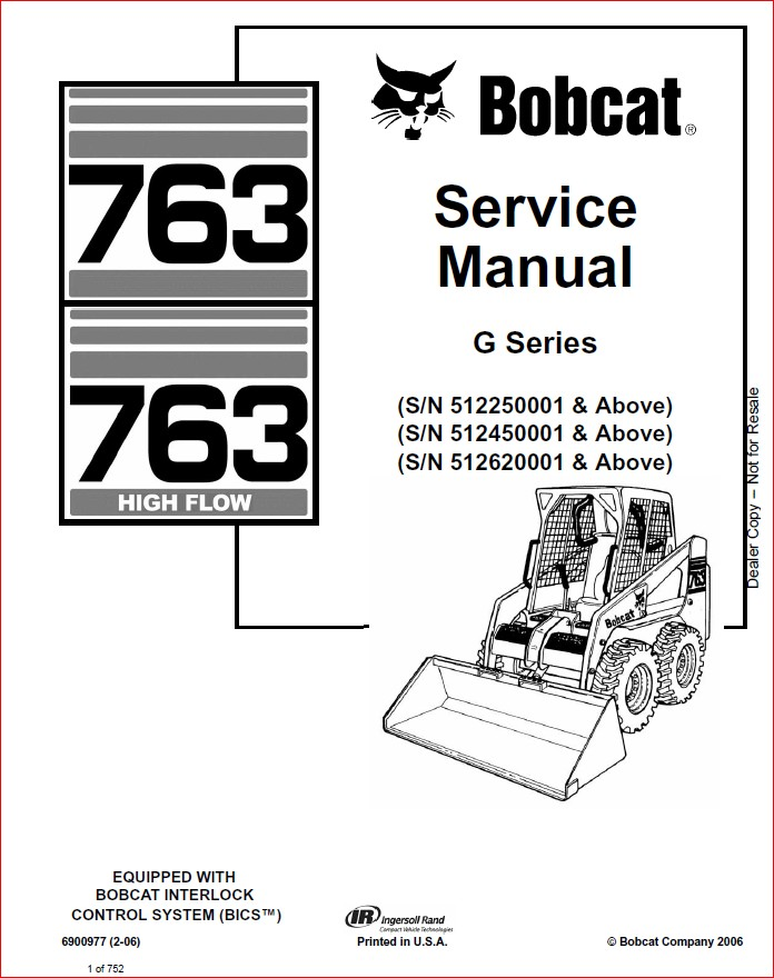 BOBCAT 763 LOADER SERVICE REPAIR WORKSHOP MANUAL DOWNLOAD