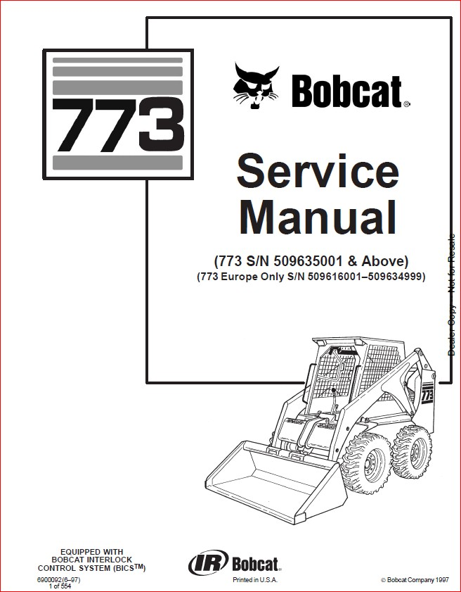 BOBCAT 773 LOADER SERVICE REPAIR WORKSHOP MANUAL DOWNLOAD
