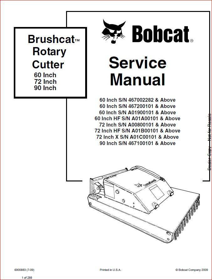 BOBCAT BRUSHCAT ROTARY CUTTER SERVICE REPAIR WORKSHOP