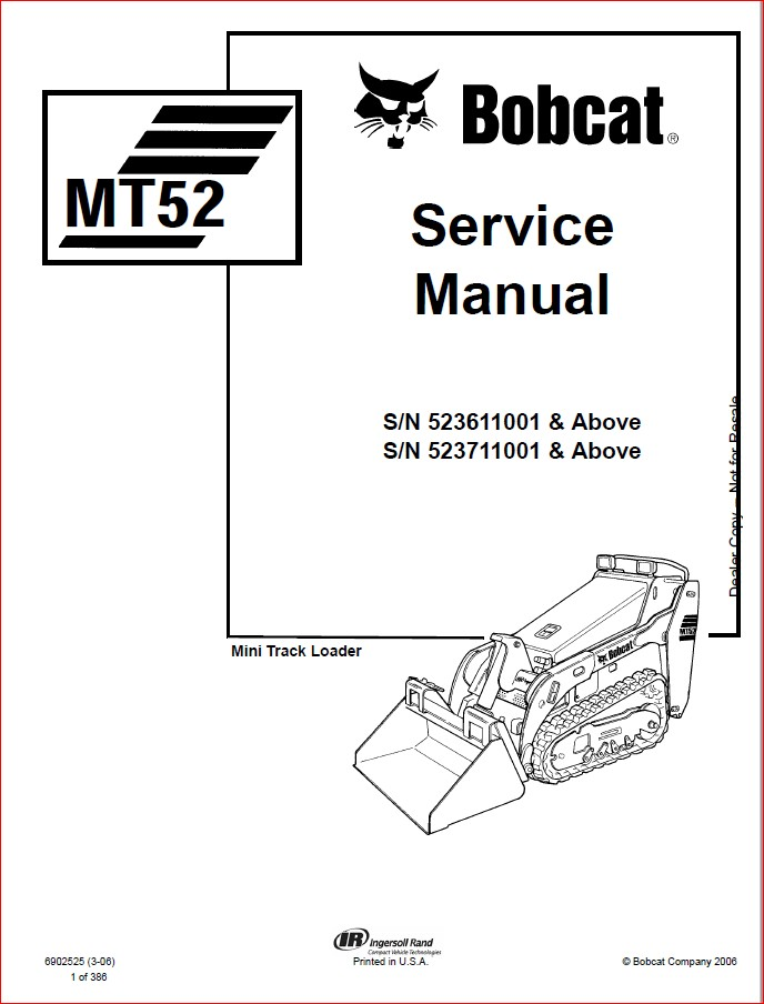 BOBCAT MT52 MINI TRACK LOADER SERVICE REPAIR WORKSHOP