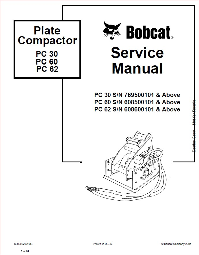 BOBCAT PLATE COMPACTOR SERVICE REPAIR WORKSHOP MANUAL