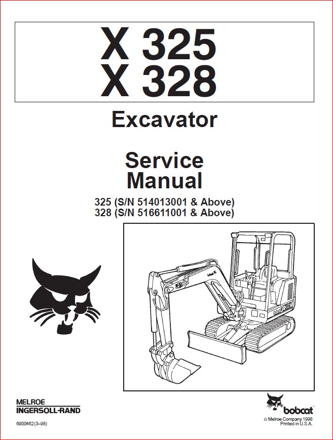 BOBCAT X325 X328 EXCAVATOR SERVICE REPAIR WORKSHOP MANUAL