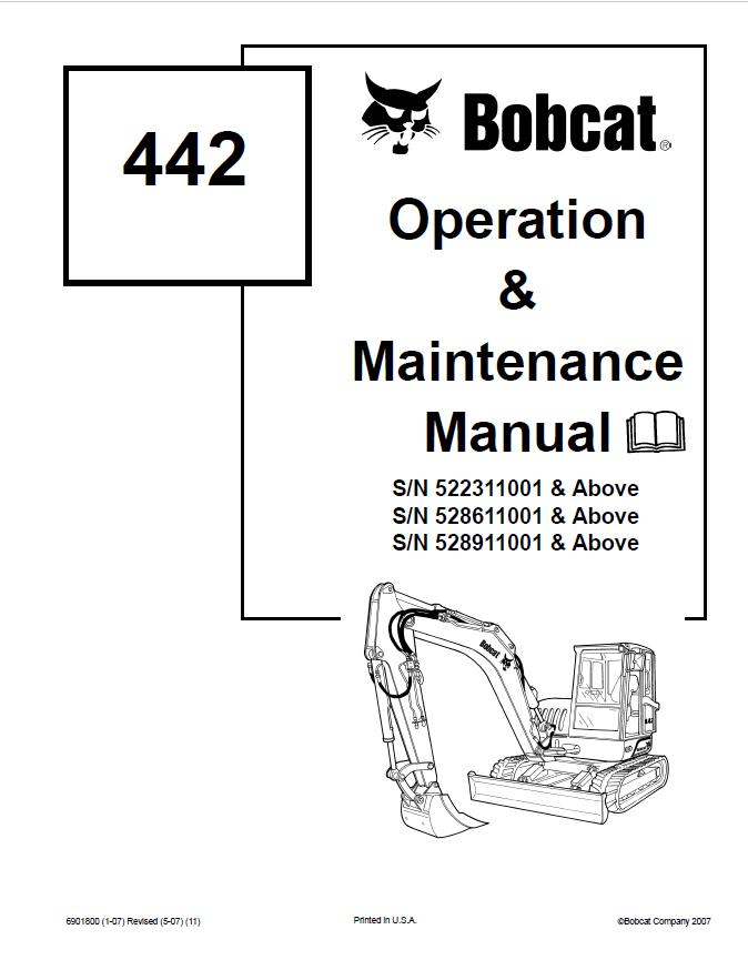 Bobcat 442 Compact Excavator Operation & Maintenance