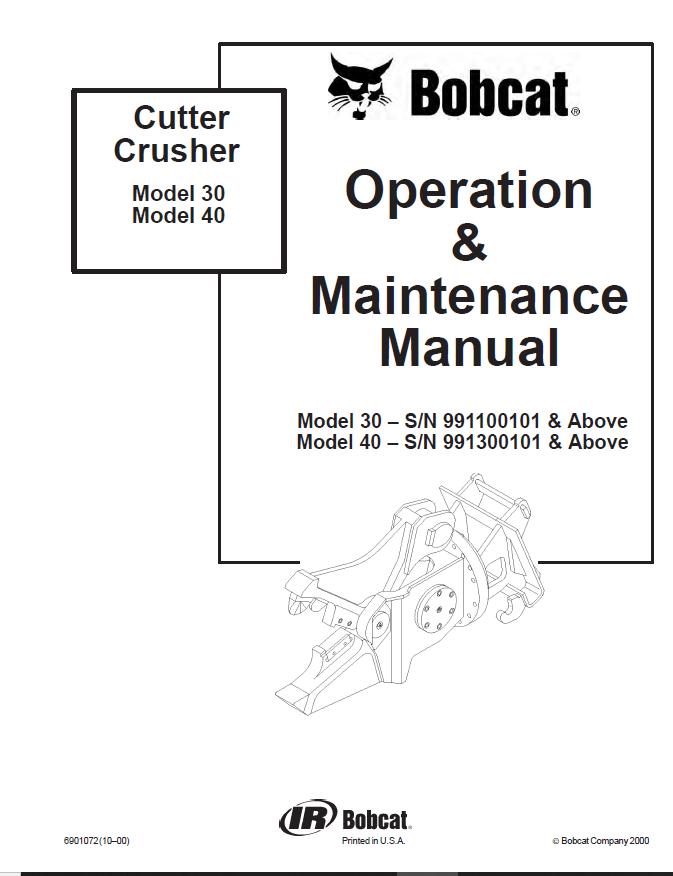 Bobcat Cutter Crusher 30 & 40 Operation & Maintenance