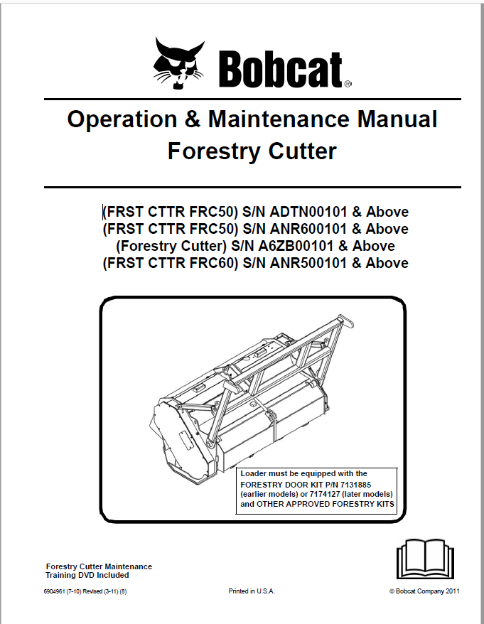 Bobcat Forestry Cutter Operation  U0026 Maintenance Manual