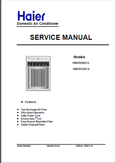 Haier Hwvr08xc6 Hwvr10xc6 Air Conditioner Repair Manual