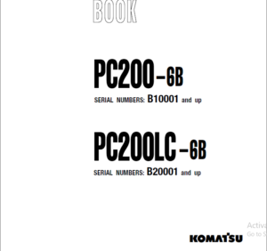 Komatsu Pc200 6b Pc200lc 6b Hydraulic Excavator Parts Book