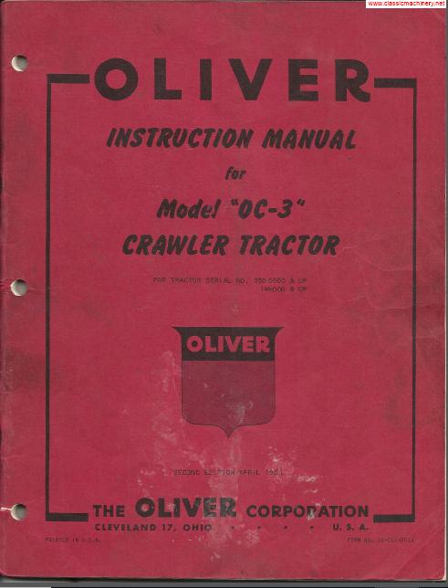 Stamford Ford Service >> Oliver Oc3 Oc 3 Crawler Tractor Operator Owner Maintenance ...