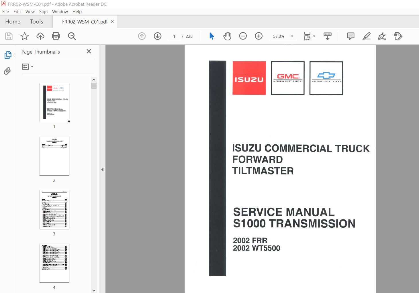 1997-2002 Isuzu Commercial Truck Forward Tiltmaster Fsr ...