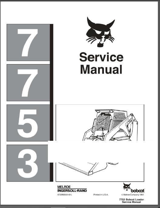 Bobcat 7753 Skid Steer Loader Service Repair Manual Pdf Download Heydownloads Manual Downloads