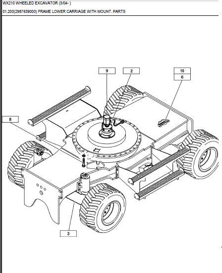 Case Wx210 Wheel Excavator Service Parts Catalogue Manual