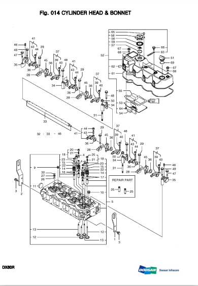 Daewoo Doosan Dx60r Mini Crawler Excavator Service Parts