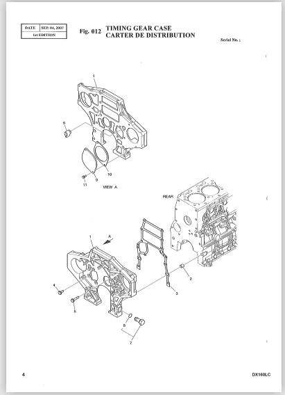 Doosan Daewoo Dx160lc Excavator Workshop Parts Manual