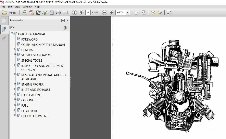 Hyundai D6b D6br Engine Service Repair Workshop Shop Manual Pdf Download Heydownloads Manual Downloads