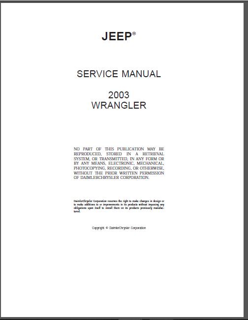 Jeep Wrangler Service Repair Manual - Jeep Wrangler PDF ...