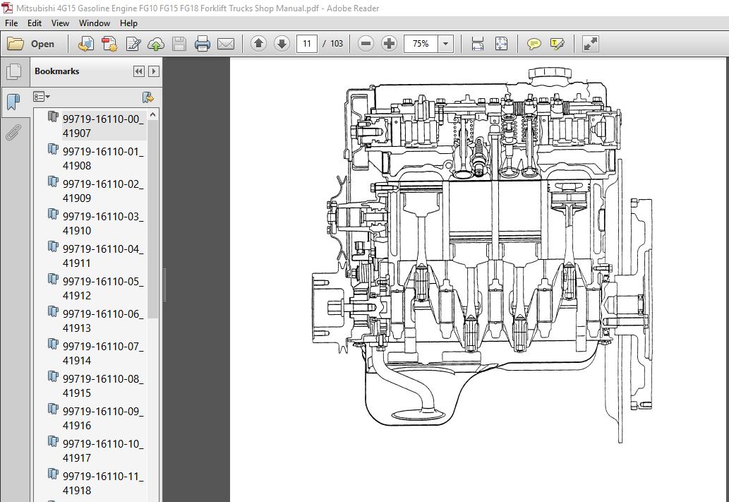 Mitsubishi 4G15 Gasoline Engine FG10 FG15 FG18 Forklift