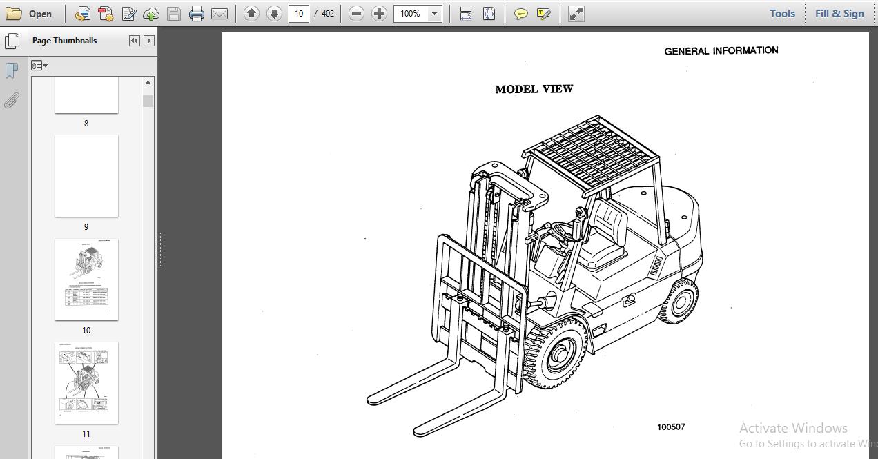 Mitsubishi Fd35 Fd40 Fd45 Fd50 Fd50c Forklift Trucks