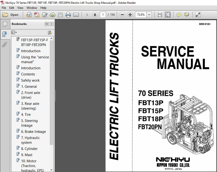 Nichiyu 70 Series Fbt13p Fbt15p Fbt18p Fbt20pn Electric Lift Trucks Shop Manual Pdf Download Heydownloads Manual Downloads