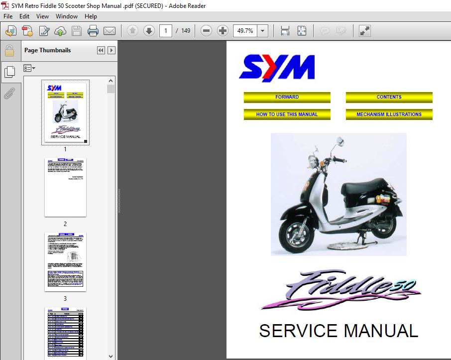 Sym Retro Fiddle 50 Scooter Service Repair Manual Pdf Download Heydownloads Manual Downloads