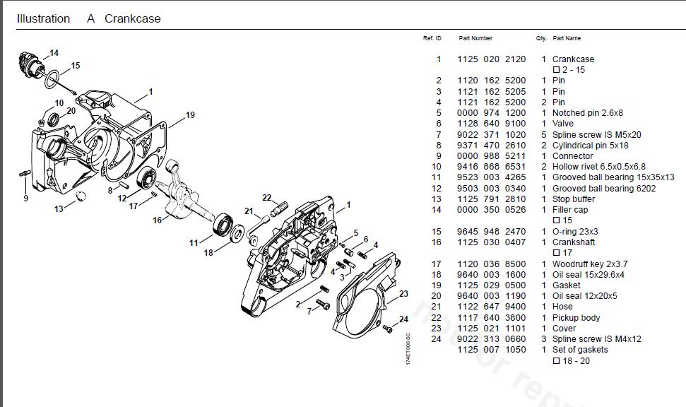 Stihl Ms360 Service Manual Illustrated Parts Manual list