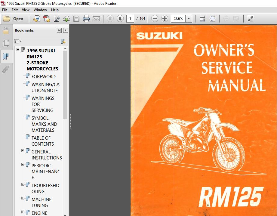 Suzuki Rm125 Dirt Bike 2 Stroke Full Service Repair Manual