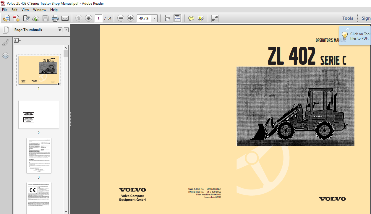 Volvo Zl 402 C Series Tractor Shop Manual Pdf Download Heydownloads Manual Downloads