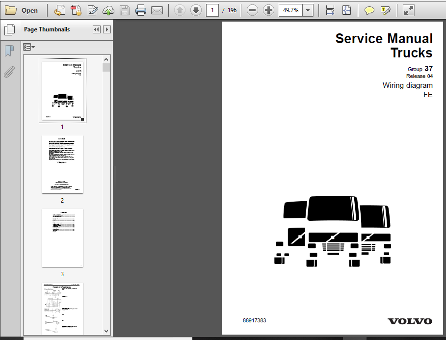 Volvo Fe Truck Wiring Diagram Service Manual  June 2009  - Pdf Download