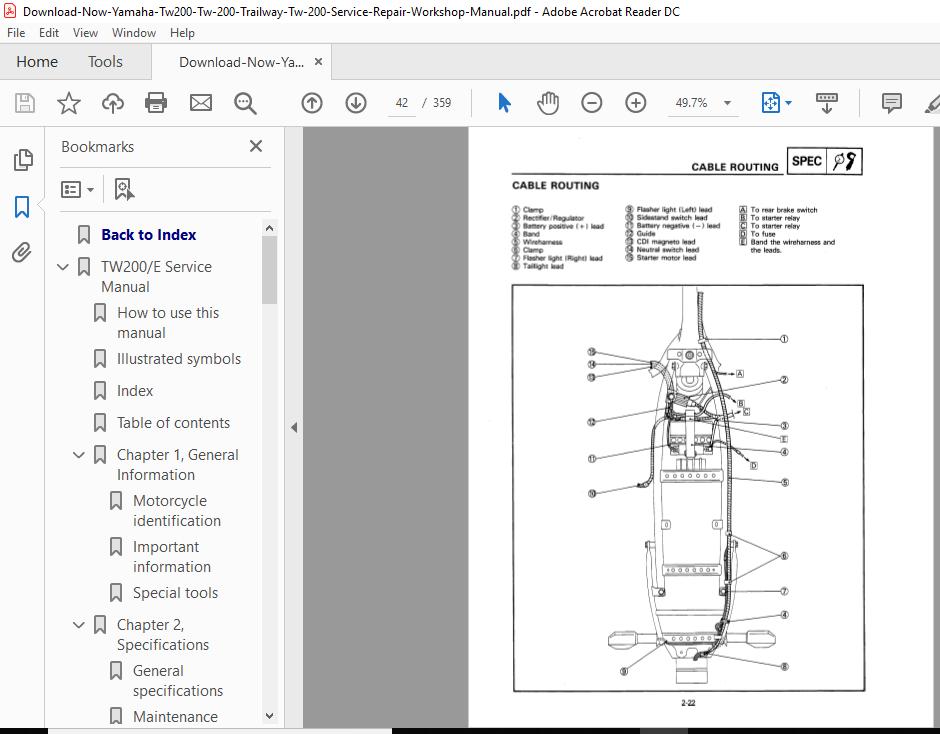 informafutbol.com Yamaha 2000 Trailway TW200 Service Manual ...