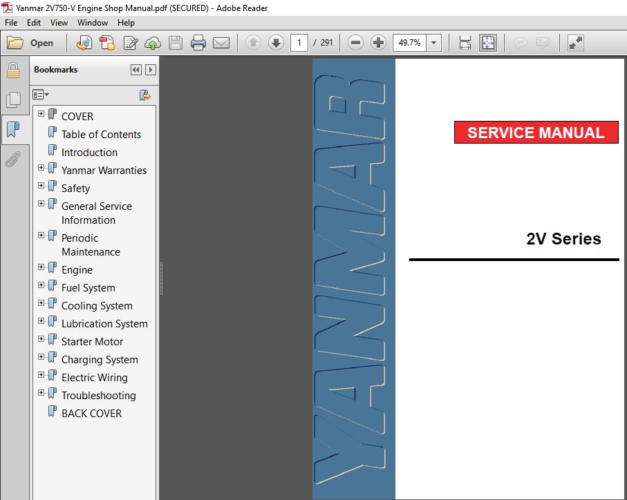 Yanmar 2v750 V Engine Shop Manual Pdf Download Heydownloads Manual Downloads