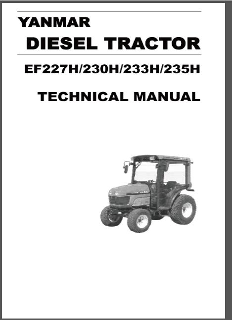 Yanmar Ef227h Ef230h Ef233h Ef235h Diesel Tractor Workshop