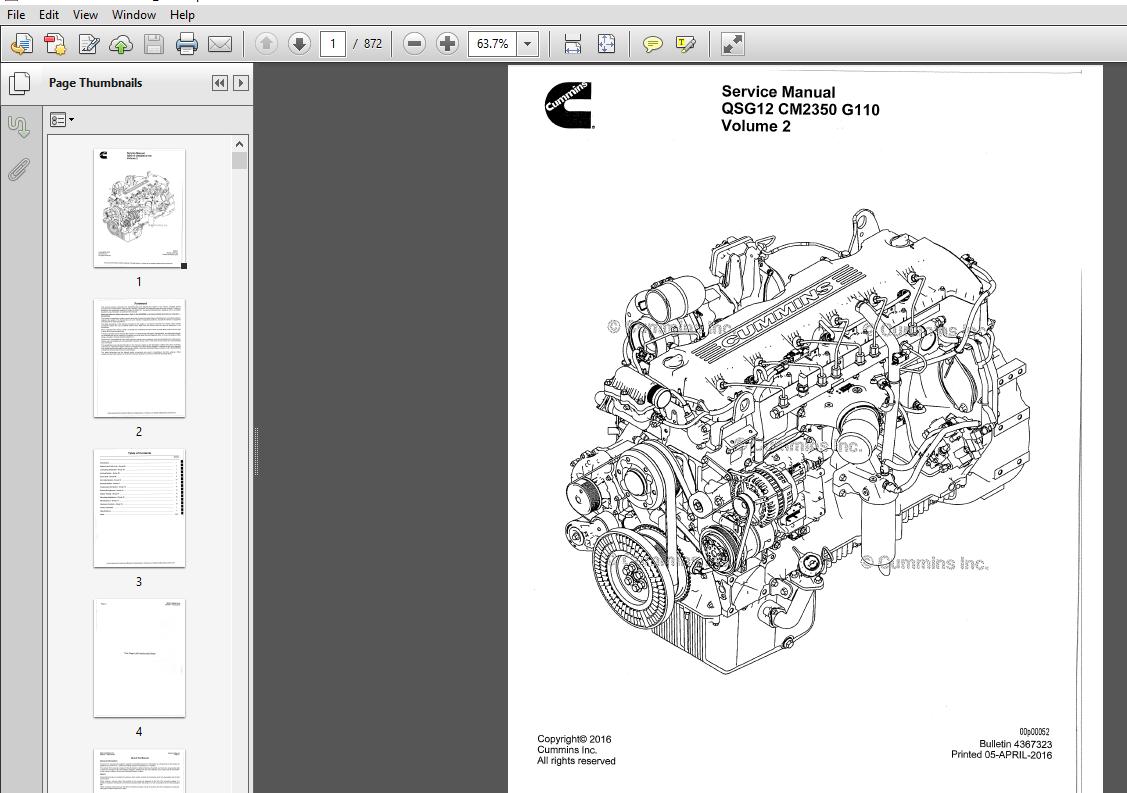 CUMMINS QSG12 CM2350 G110 Service Manual Vol 1 & 2 - PDF ...