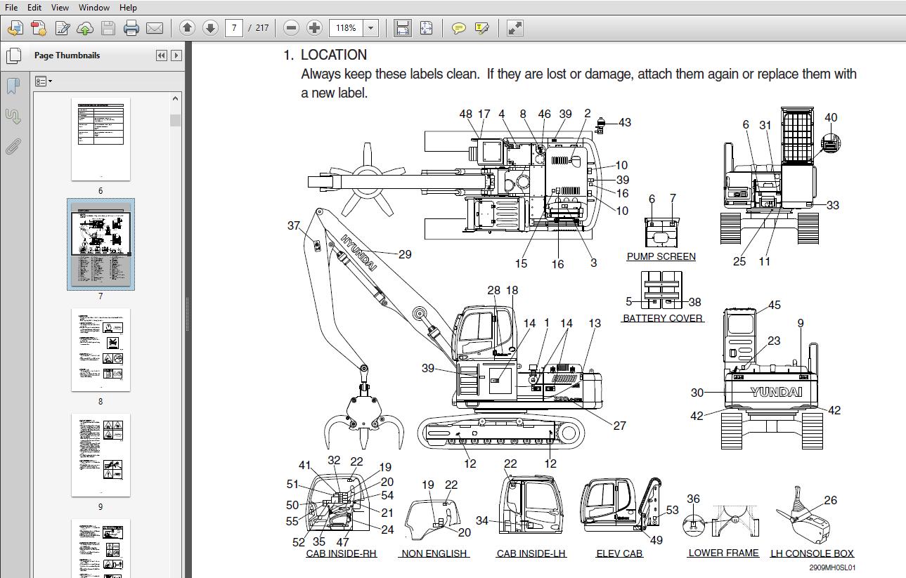 Hyundai R290LC-9MH Crawler Excavator Operators Manual