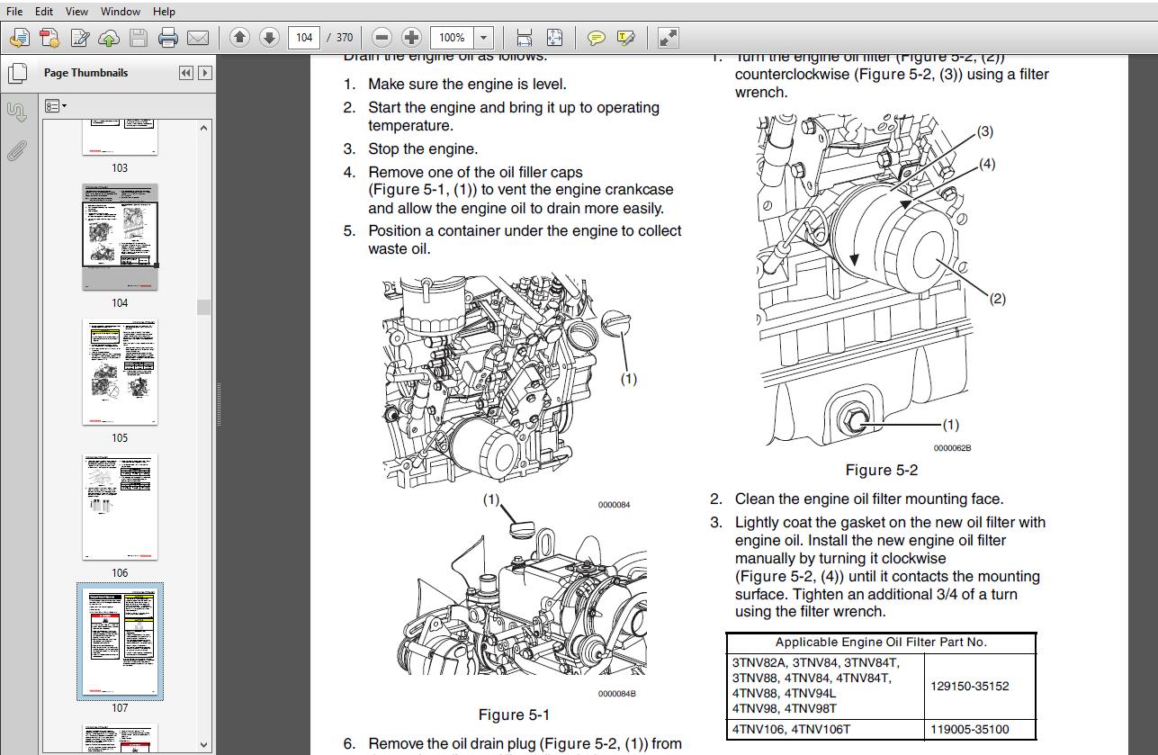JCB Engines Yanmar 3tn 41n Pn 0BTNV0 G0000 Service Manual